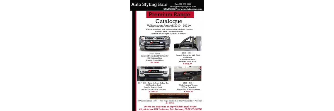 VW Amarok 2010 -202021+ 409 Stainless Steel PC Black