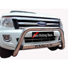 Ford Ranger 2012 - 2015 Nudge Bar Oval Cross Member Stainless Steel