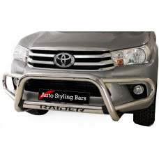 Toyota Hilux 2016 - 2019+ Tri Bumper with Oval Cross Member Stainless Steel
