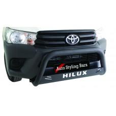 Toyota Hilux+ Fleet Range Nudge Bar 409 Stainless Steel PC Black