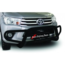 Toyota Hilux 2016 - 2019+ Tri Bumper with Oval Cross Member 409 Stainless Steel Powder Coated Black
