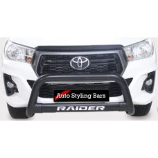 Toyota Hilux 2016 - 2021+ Nudge Bar with Oval Cross Member 409 Stainless Steel Powder Coated Black